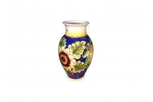 Vase with Edge - Sunflowers Blue Background Decoration - Vessels Collection