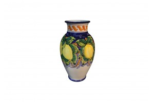 Vase with Edge -  Lemons Blue Background Decoration - Vessels Collection